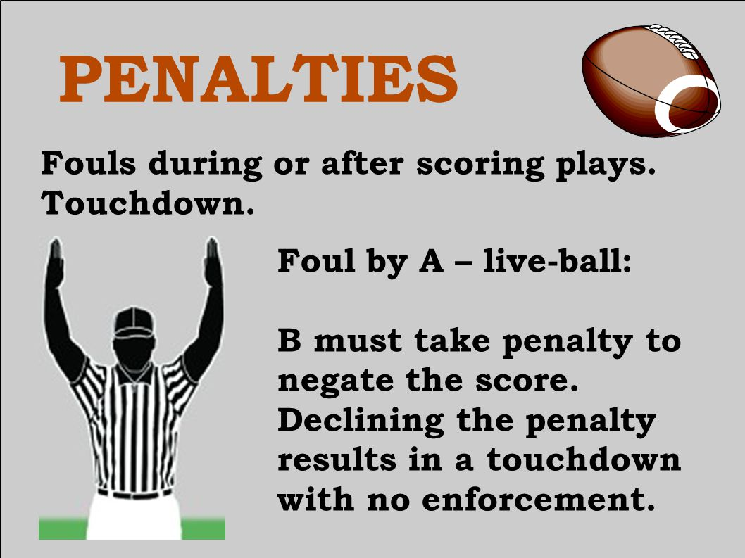 PENALTIES Fouls during or after scoring plays. Touchdown.