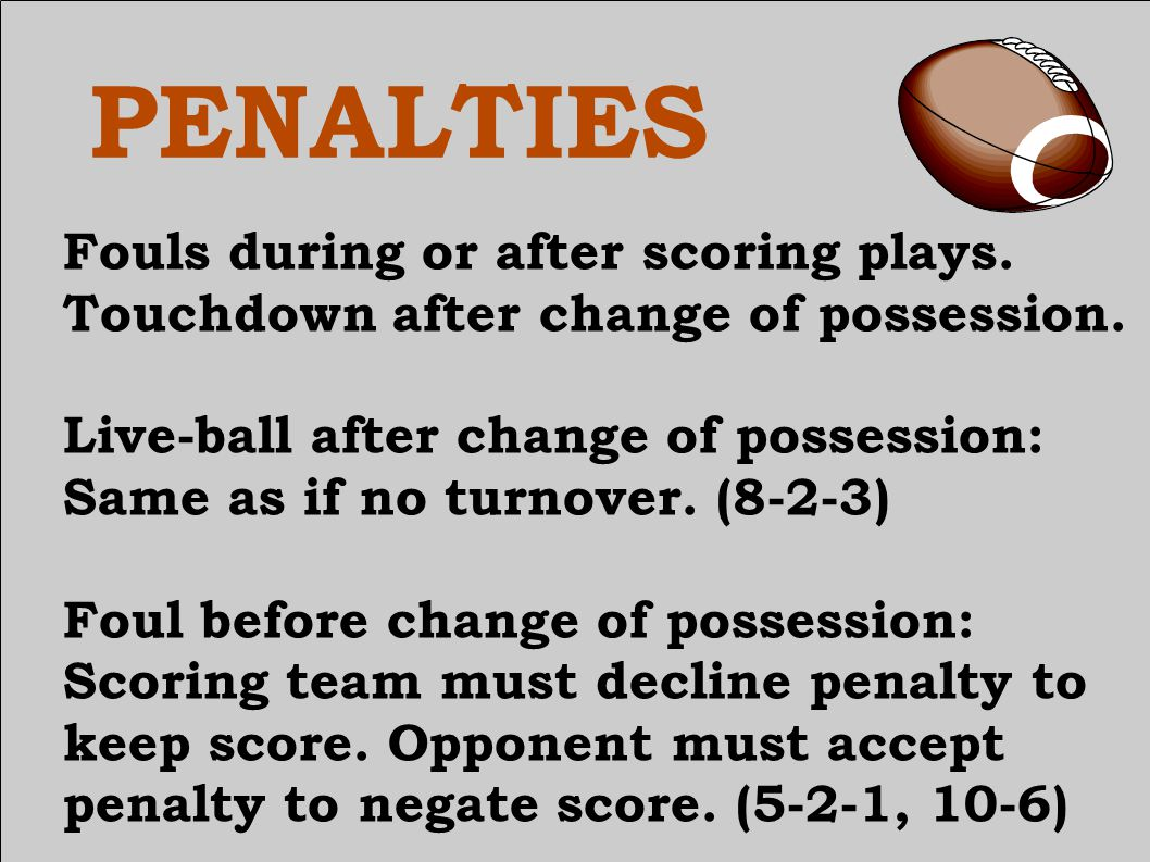 PENALTIES Fouls during or after scoring plays. Touchdown after change of possession.