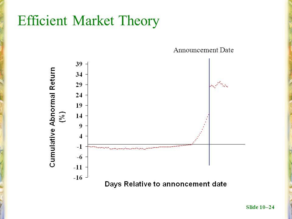 Slide 10–24 Efficient Market Theory Announcement Date
