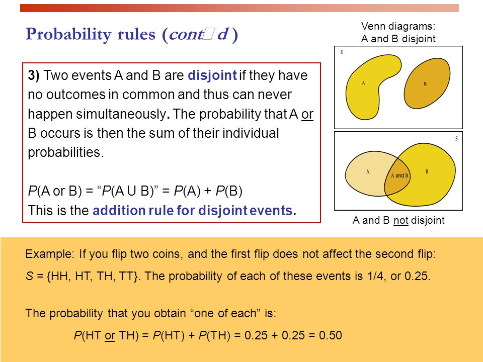 Probability rules (contd ) 3) Two events A and B are disjoint if they have no outcomes in common and thus can never happen simultaneously. The probabi