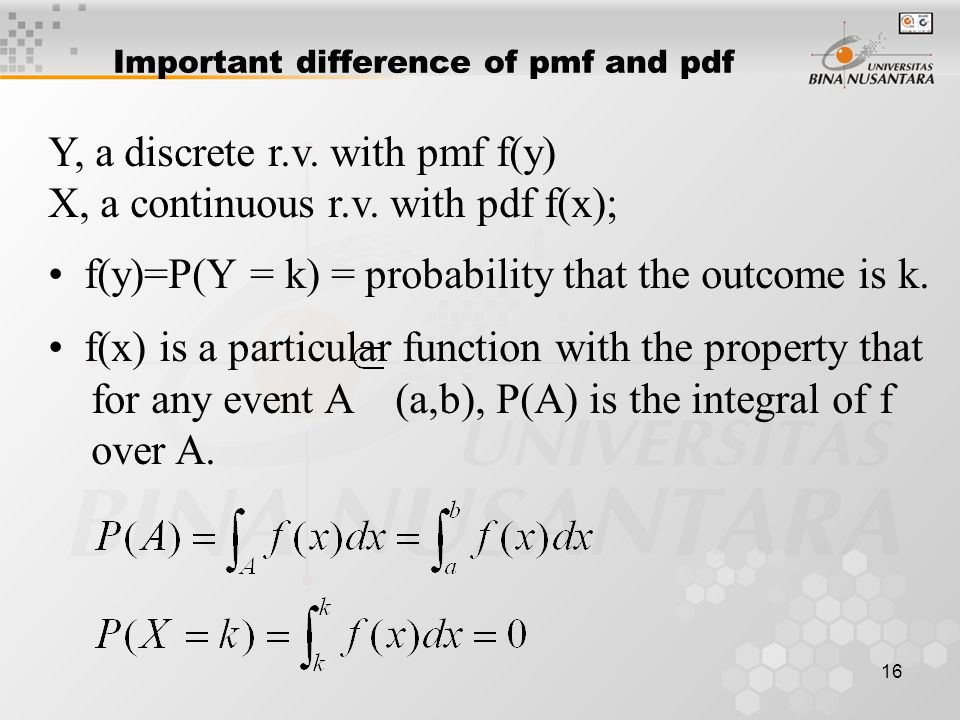 16 Important difference of pmf and pdf Y, a discrete r.v.