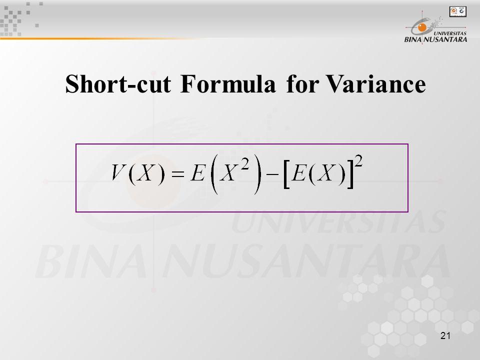 21 Short-cut Formula for Variance