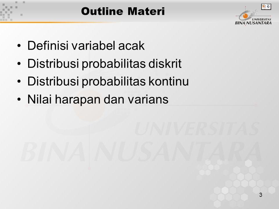 3 Outline Materi Definisi variabel acak Distribusi probabilitas diskrit Distribusi probabilitas kontinu Nilai harapan dan varians