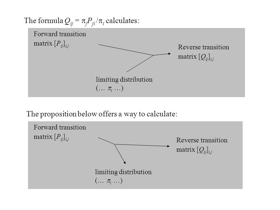 The formula Q ij =  j P ji /  i calculates: Reverse transition matrix [Q ij ] i,j Forward transition matrix [P ij ] i,j limiting distribution ( … 