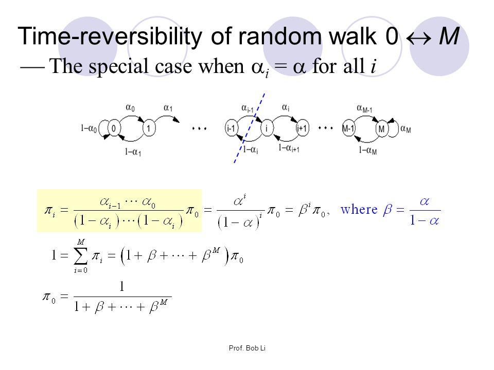 Prof. Bob Li Time-reversibility of random walk 0  M  The special case when  i =  for all i