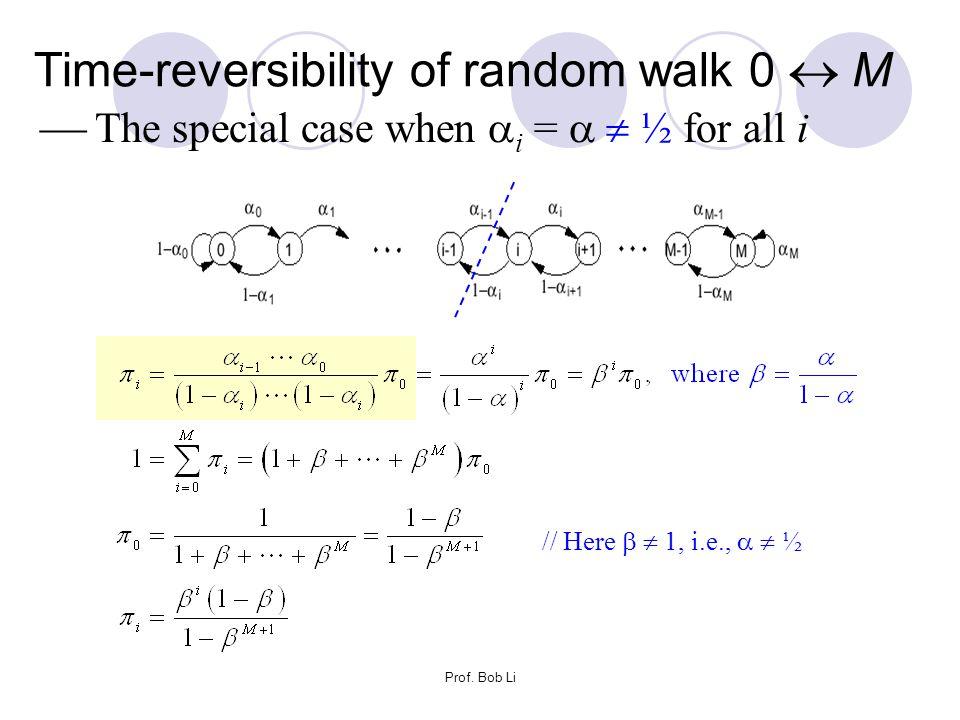 Prof. Bob Li Time-reversibility of random walk 0  M  The special case when  i =   ½ for all i // Here   1, i.e.,   ½