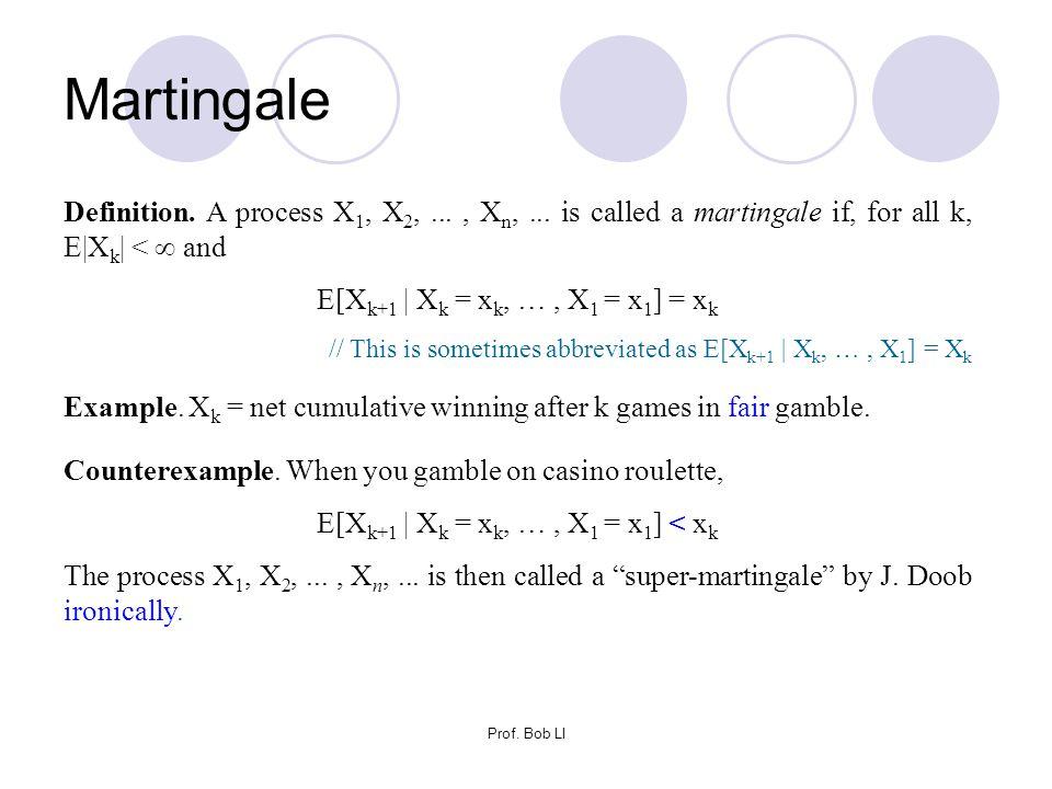 Prof. Bob LI Martingale Definition. A process X 1, X 2,..., X n,... is called a martingale if, for all k, E|X k | <  and E[X k+1 | X k = x k, …, X 1