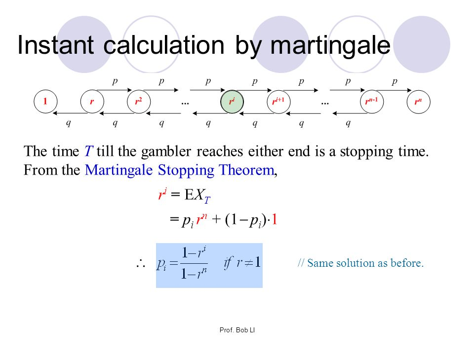 Prof. Bob LI The time T till the gambler reaches either end is a stopping time. From the Martingale Stopping Theorem, ri = EXTri = EXT = p i r n + (1
