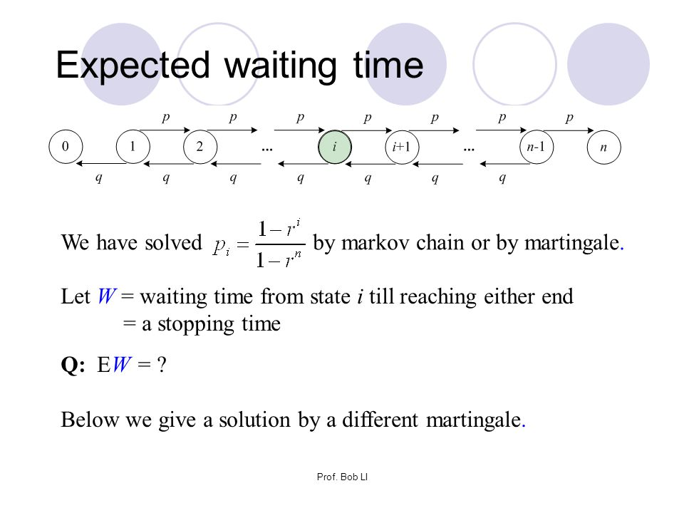 Prof. Bob LI Expected waiting time Let W = waiting time from state i till reaching either end = a stopping time Q: EW = ? Below we give a solution by