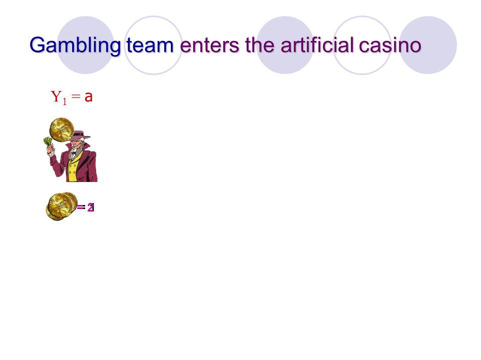 Gambling team enters the artificial casino Y 1 = a = 1= 2