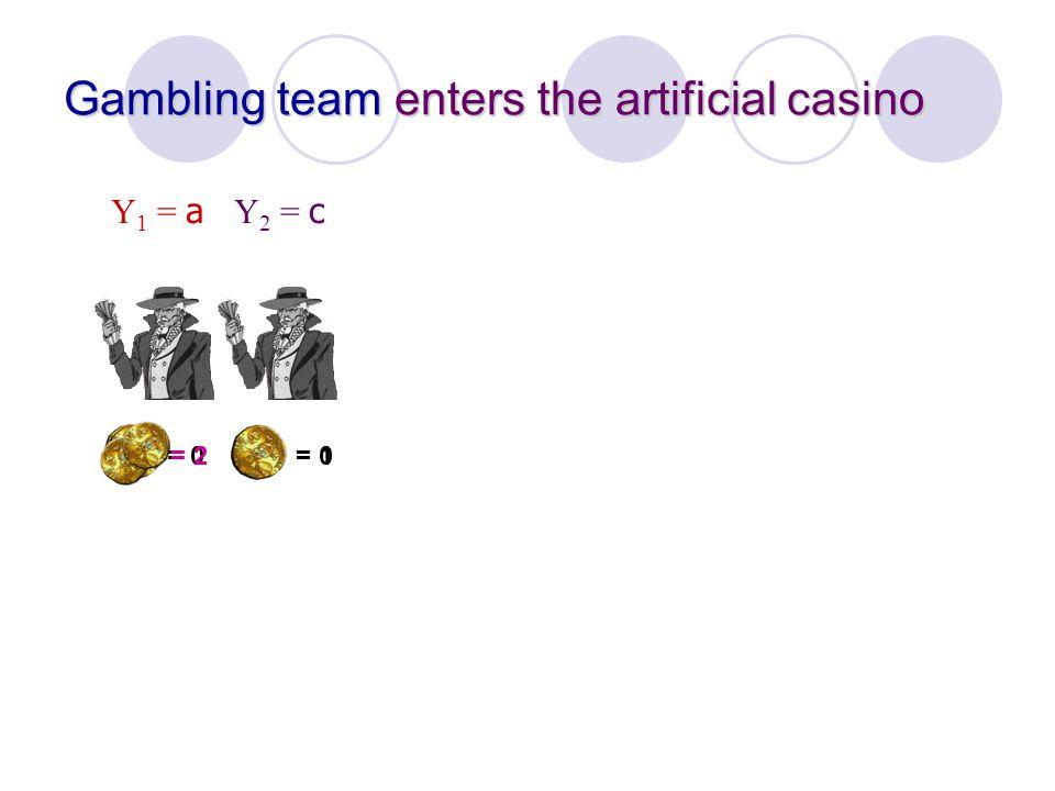 = 0 = 2 Gambling team enters the artificial casino Y 1 = a = 1 Y 2 = c