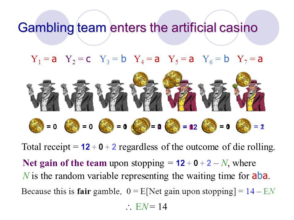 = 0 Gambling team enters the artificial casino Y 1 = a Y 2 = c Y 3 = b Y 4 = a Y 5 = a Y 6 = b Y 7 = a = 1 = 0= 2= 0= 2 = 6= 12 Total receipt = 12 + 0