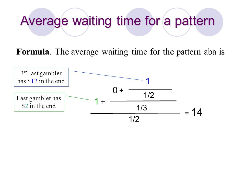 1/2 1 +1 + 1/3 0 +0 + 1/2 1 = 14 Average waiting time for a pattern Formula. The average waiting time for the pattern aba is 3 rd last gambler has $12
