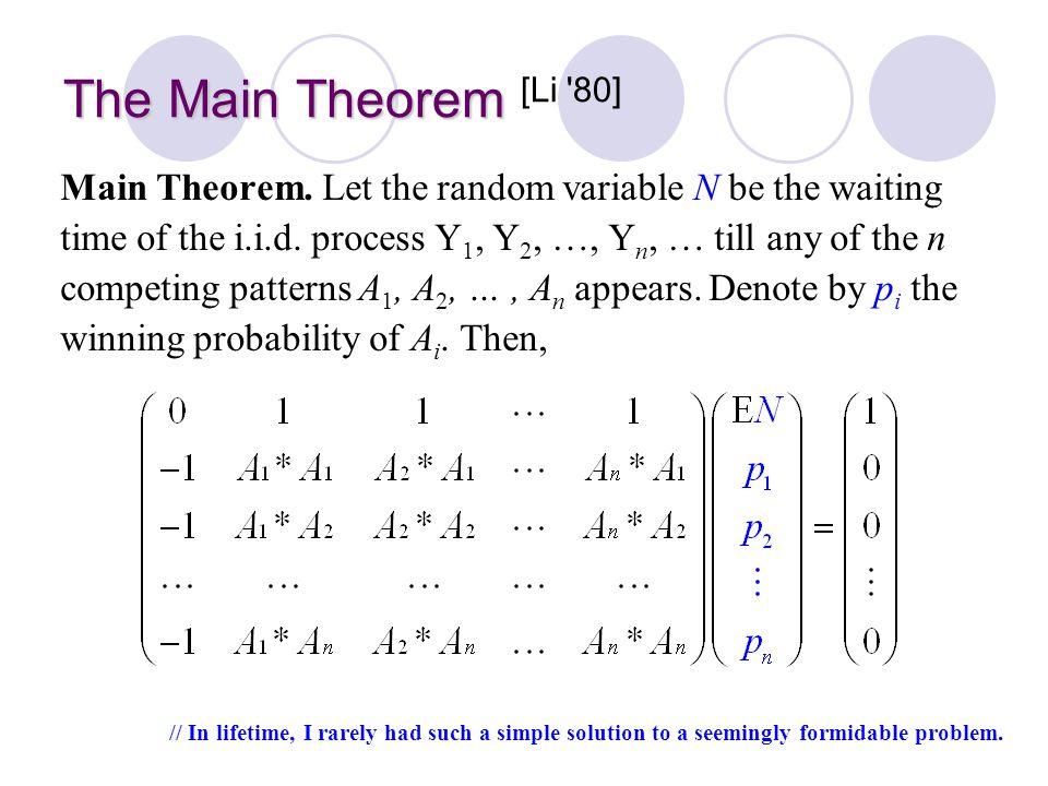 Prof. Bob LI The Main Theorem The Main Theorem [Li '80] Main Theorem. Let the random variable N be the waiting time of the i.i.d. process Y 1, Y 2, …,