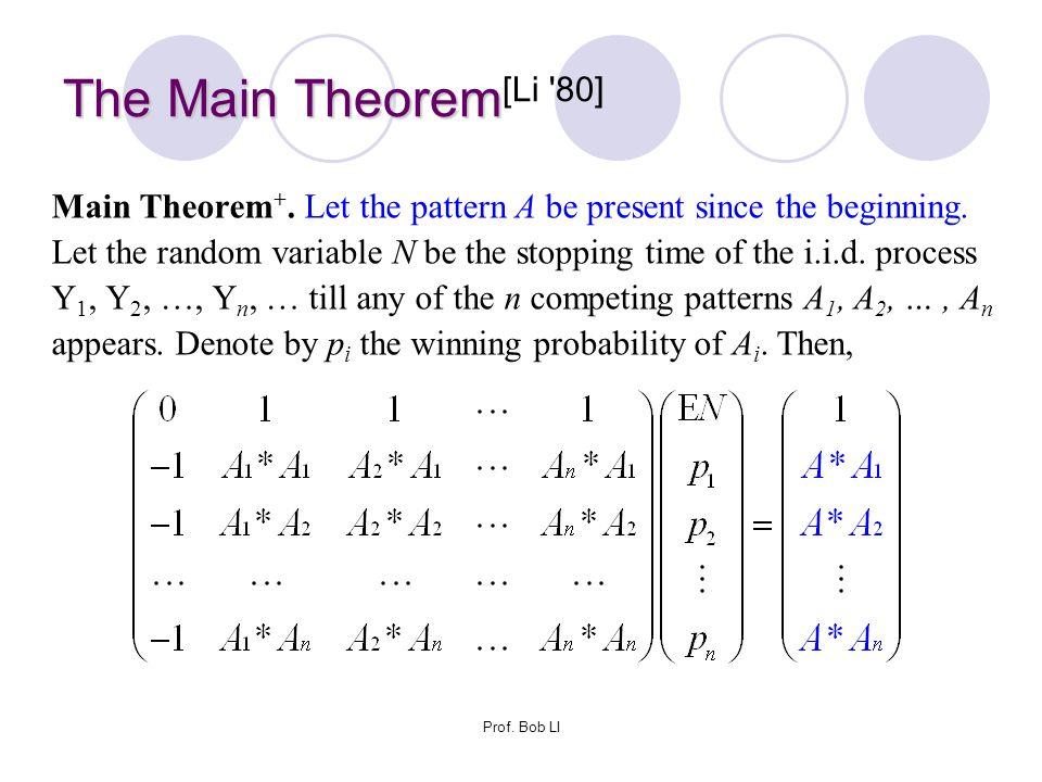 Prof. Bob LI The Main Theorem The Main Theorem [Li '80] Main Theorem +. Let the pattern A be present since the beginning. Let the random variable N be