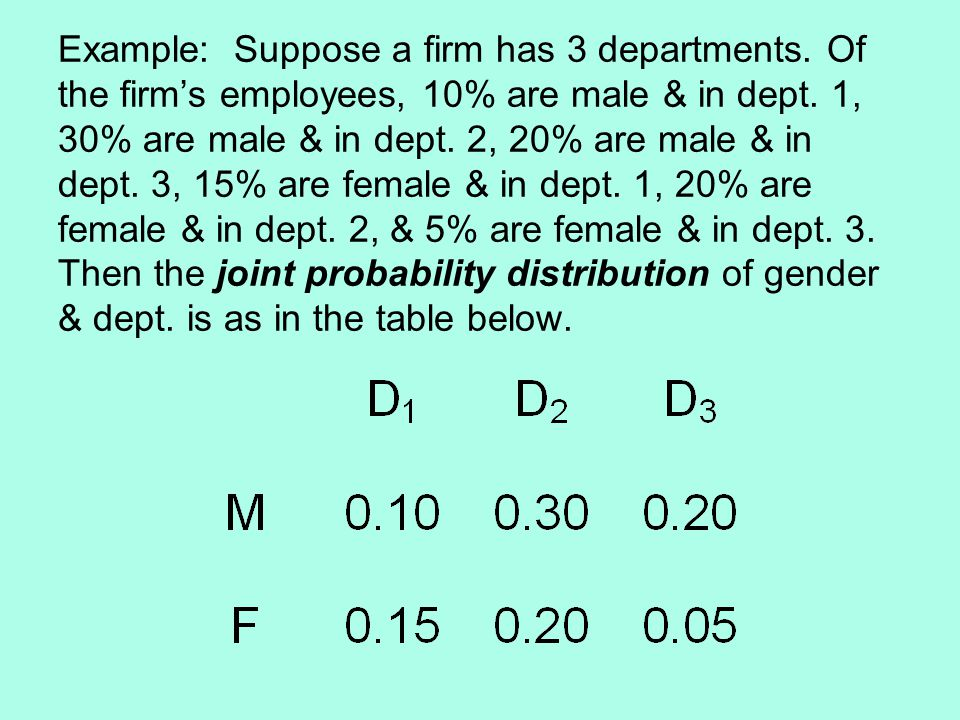 Example: Suppose a firm has 3 departments. Of the firm's employees, 10% are male & in dept.