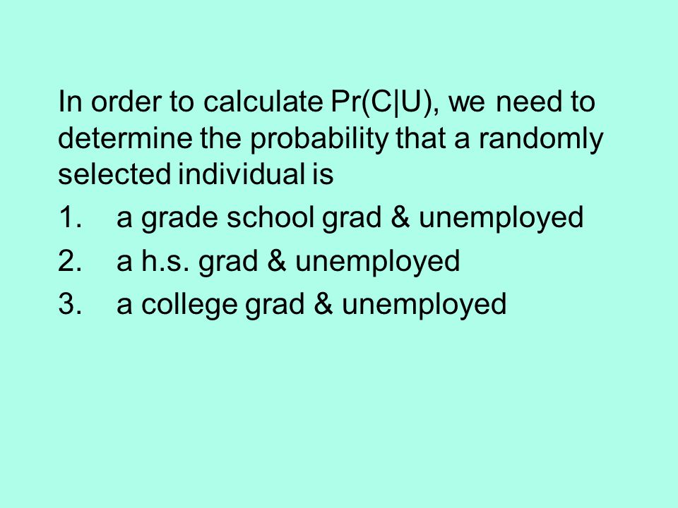 In order to calculate Pr(C|U), we need to determine the probability that a randomly selected individual is 1.