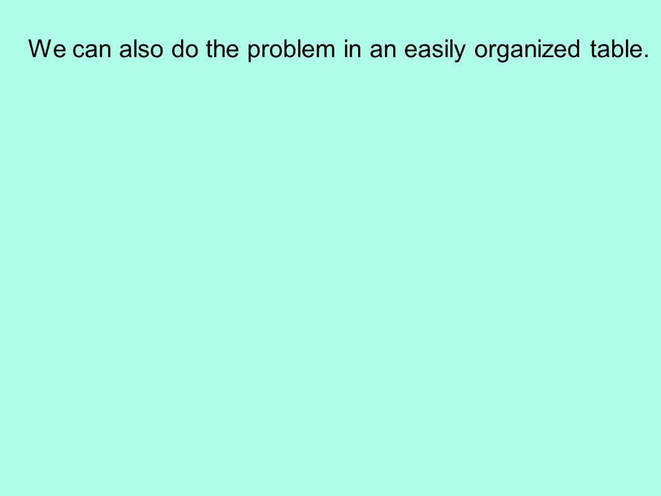 We can also do the problem in an easily organized table.