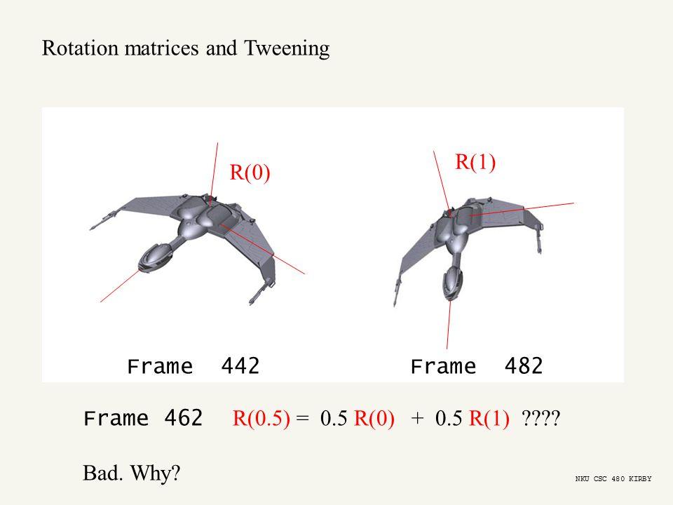 R(0) R(1) Frame 442Frame 482 Frame 462 R(0.5) = 0.5 R(0) + 0.5 R(1) ???.