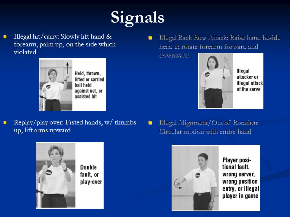 Signals Illegal hit/carry: Slowly lift hand & forearm, palm up, on the side which violated Replay/play over: Fisted hands, w/ thumbs up, lift arms upw