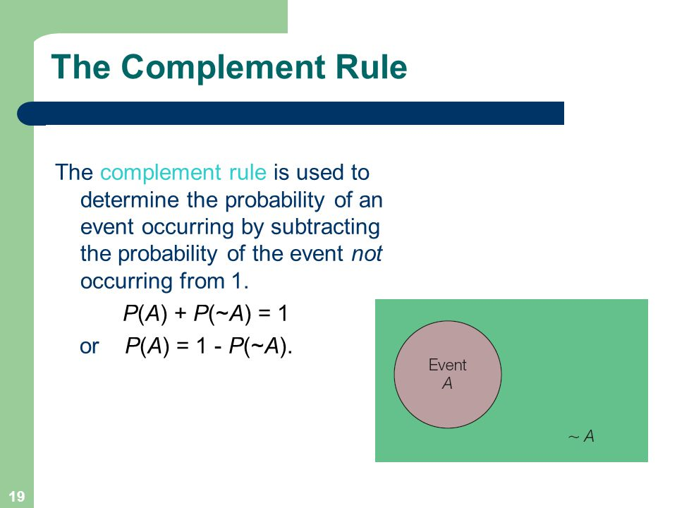 19 The Complement Rule The complement rule is used to determine the probability of an event occurring by subtracting the probability of the event not occurring from 1.