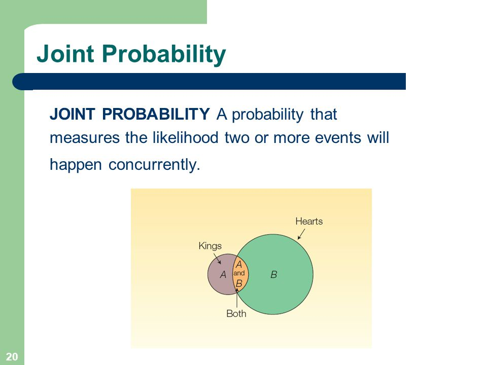 20 Joint Probability JOINT PROBABILITY A probability that measures the likelihood two or more events will happen concurrently.