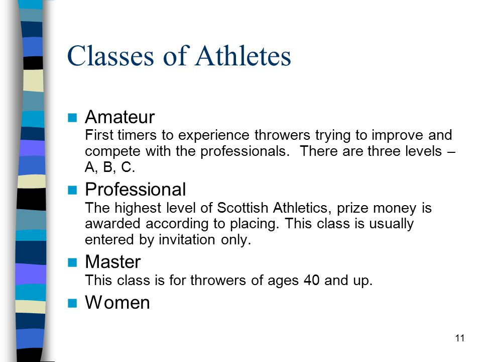 11 Classes of Athletes Amateur First timers to experience throwers trying to improve and compete with the professionals. There are three levels – A, B