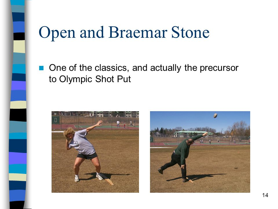 14 Open and Braemar Stone One of the classics, and actually the precursor to Olympic Shot Put