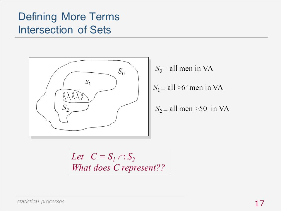 statistical processes 17 Defining More Terms Intersection of Sets S0S0 S 0  all men in VA S1S1 S 1  all >6' men in VA S2S2 S 2  all men >50 in VA L