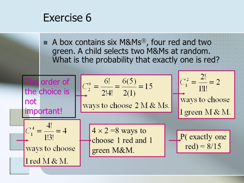 Exercise 6 A box contains six M&Ms ®, four red and two green.