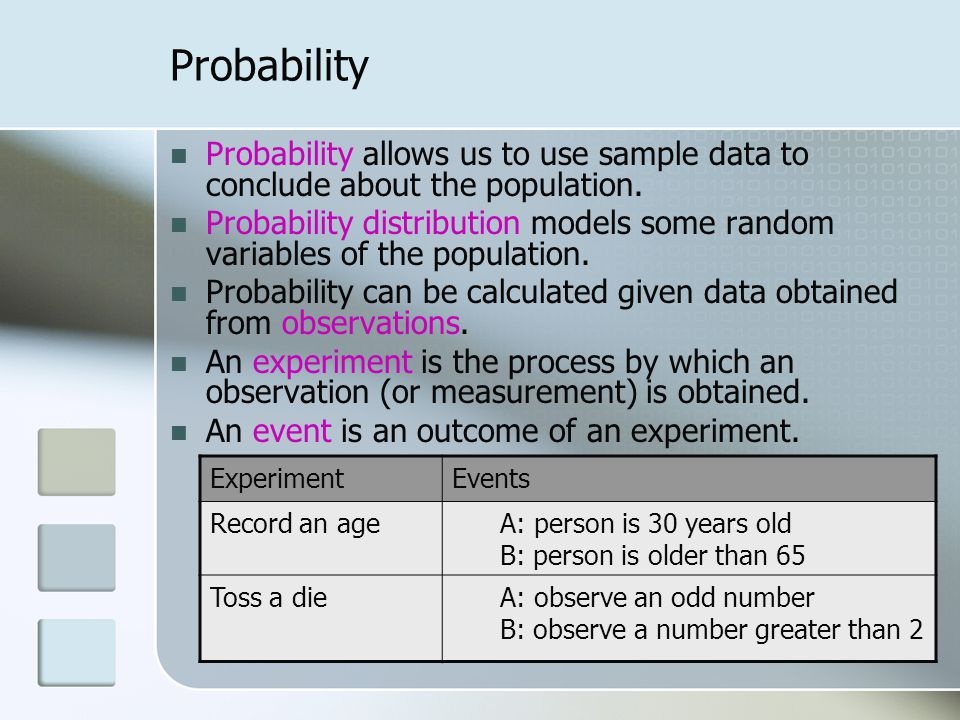Probability Probability allows us to use sample data to conclude about the population.