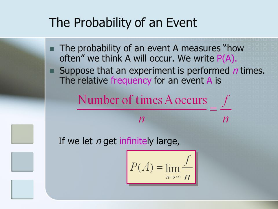 The Probability of an Event The probability of an event A measures how often we think A will occur.