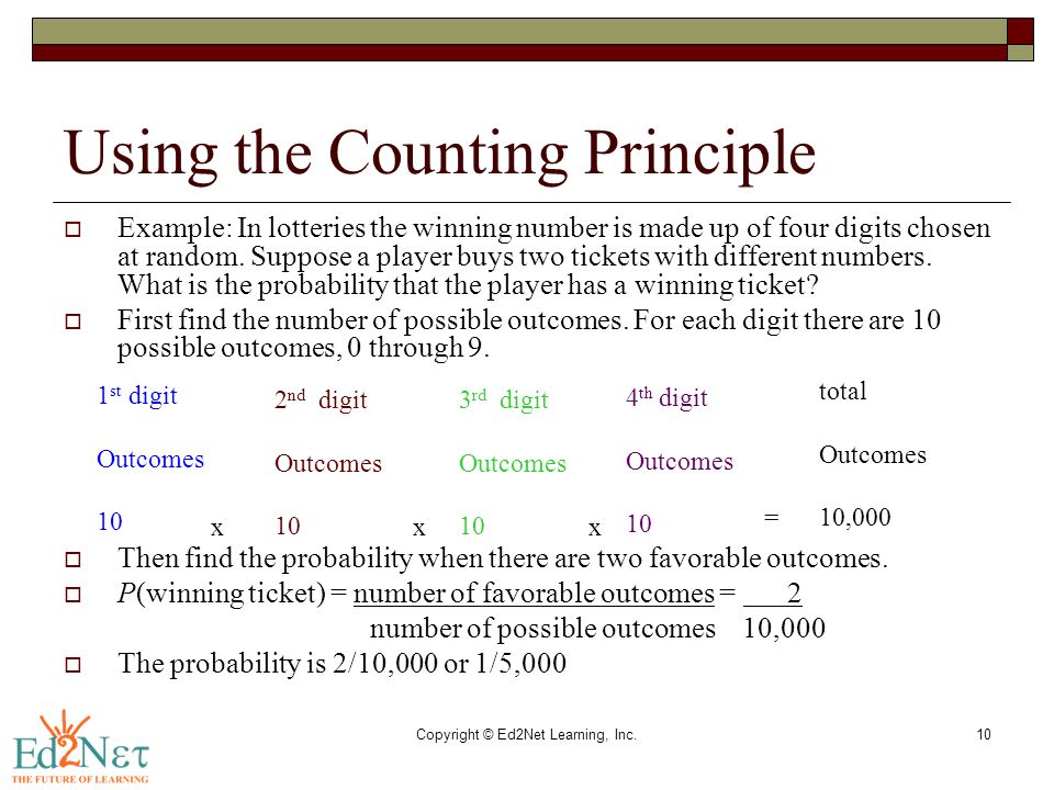 Copyright © Ed2Net Learning, Inc.10 Using the Counting Principle  Example: In lotteries the winning number is made up of four digits chosen at random