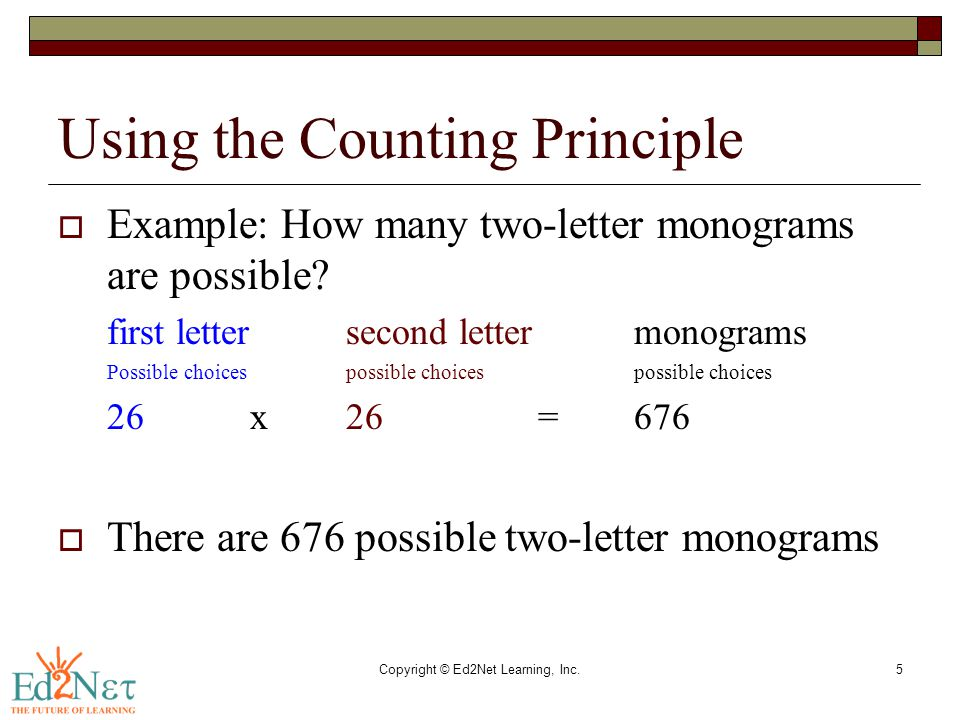Copyright © Ed2Net Learning, Inc.5 Using the Counting Principle  Example: How many two-letter monograms are possible? first lettersecond lettermonogr