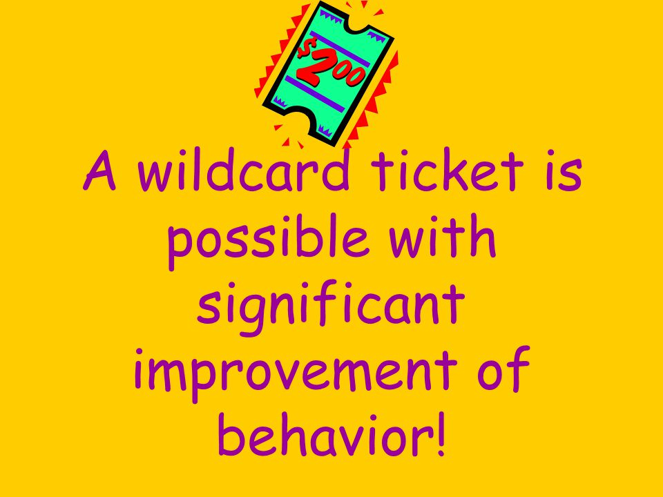 A wildcard ticket is possible with significant improvement of behavior!