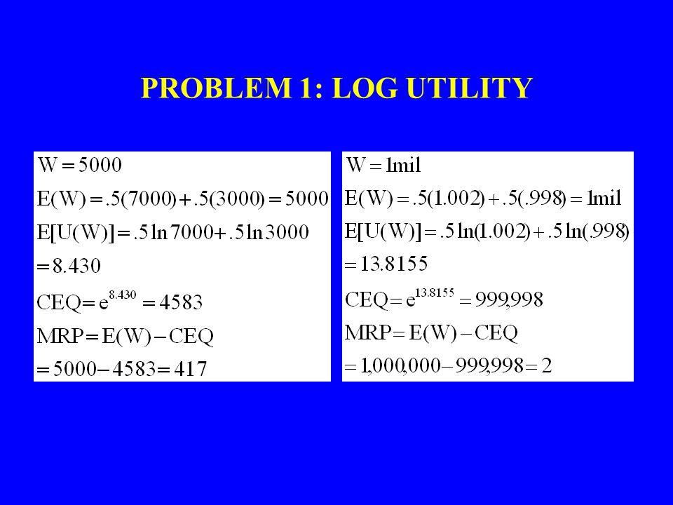 PROBLEM 1: LOG UTILITY