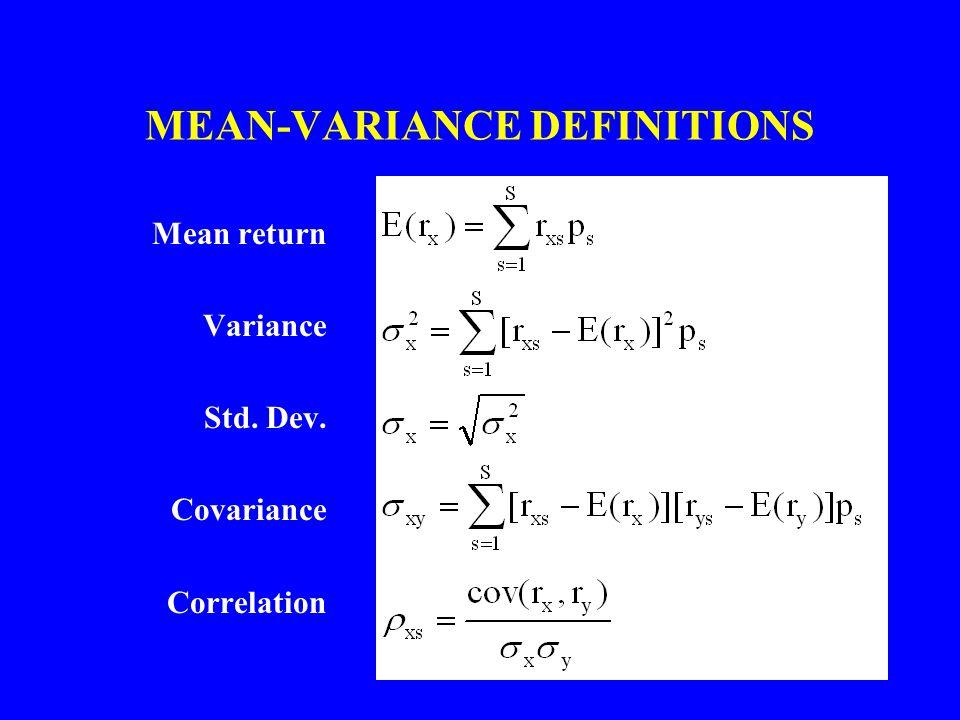 MEAN-VARIANCE DEFINITIONS Mean return Variance Std. Dev. Covariance Correlation
