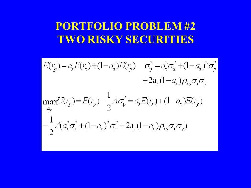PORTFOLIO PROBLEM #2 TWO RISKY SECURITIES