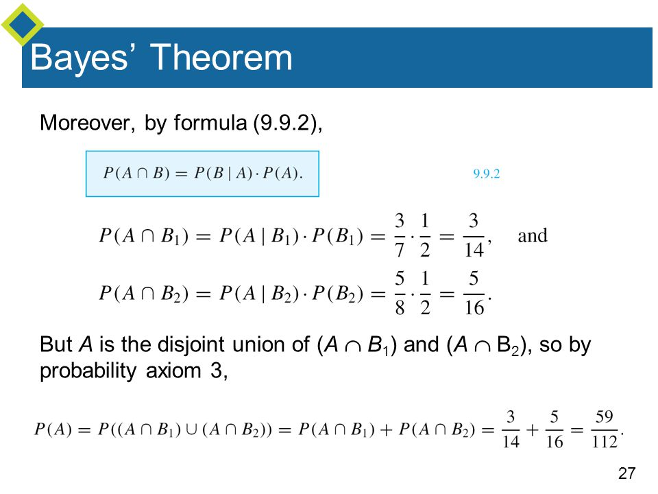 27 Bayes' Theorem Moreover, by formula (9.9.2), But A is the disjoint union of (A  B 1 ) and (A  B 2 ), so by probability axiom 3,