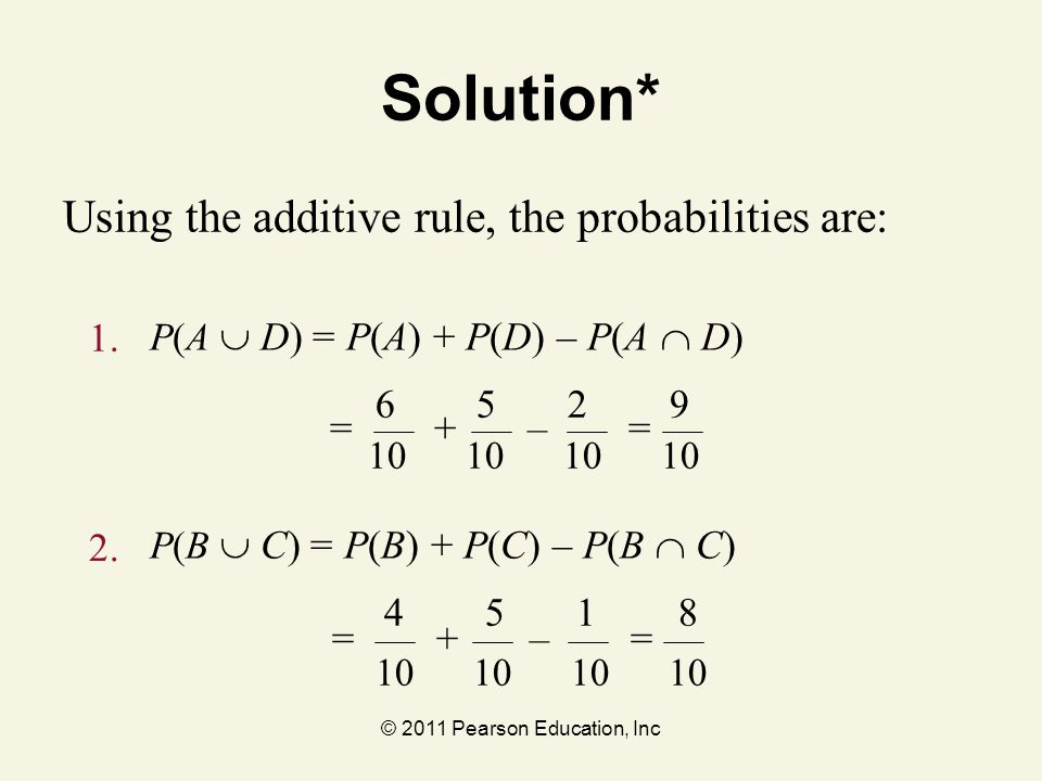 © 2011 Pearson Education, Inc 10 10 6 5 2 9 Solution* Using the additive rule, the probabilities are: P(A  D) = P(A) + P(D) – P(A  D) 1. 2. P(B 