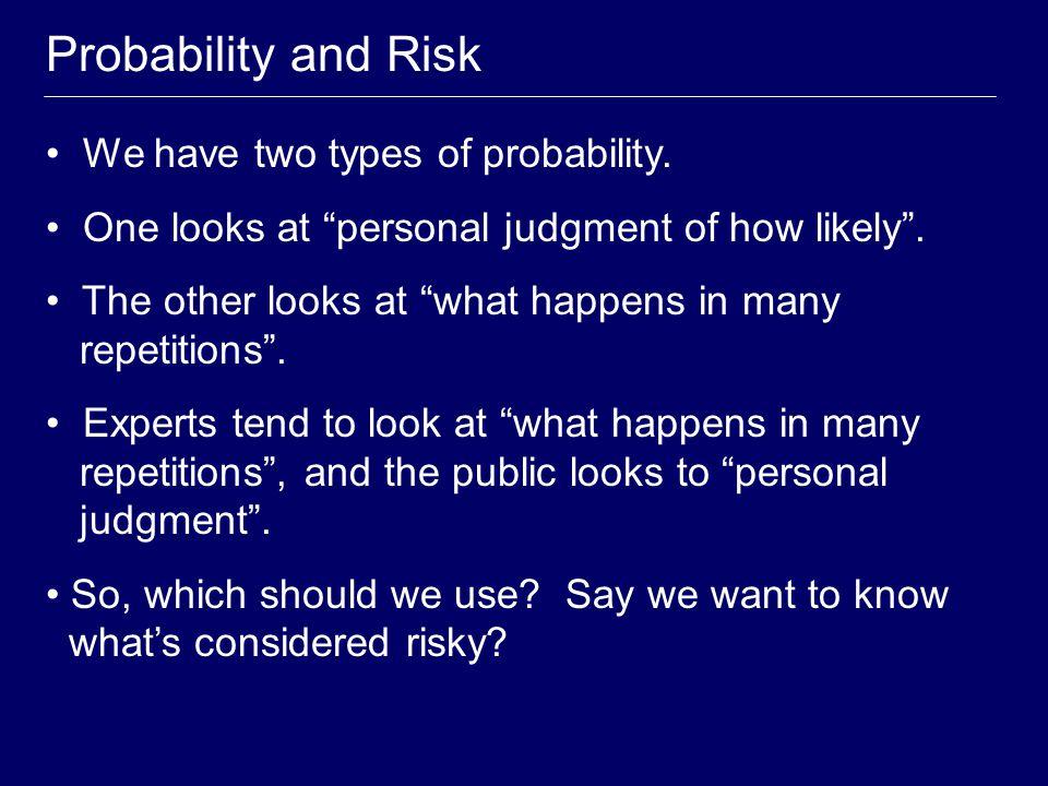 Personal Probability Personal probability expresses individual opinion.
