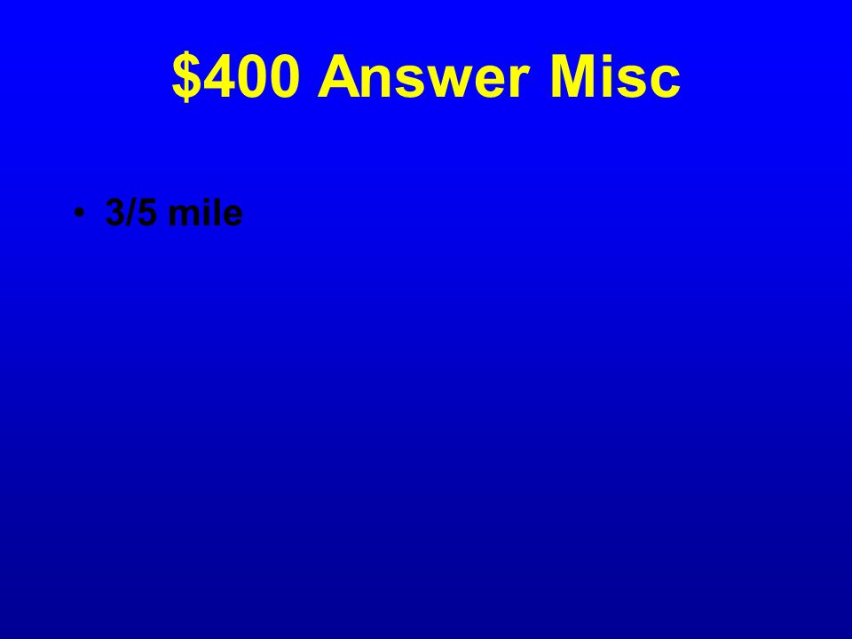 $400 Question Misc In a two-person relay race, the first runner will run 1/5 of a mile.