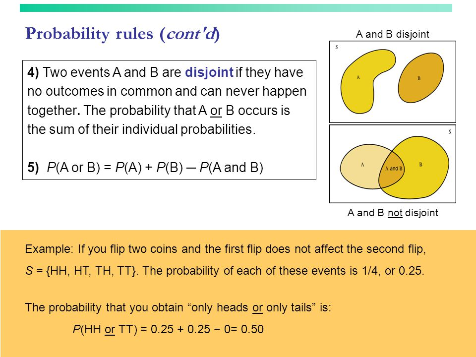 Probability rules (cont'd) 4) Two events A and B are disjoint if they have no outcomes in common and can never happen together. The probability that A