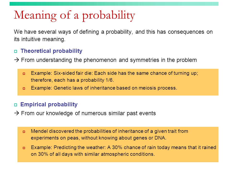 Meaning of a probability We have several ways of defining a probability, and this has consequences on its intuitive meaning.