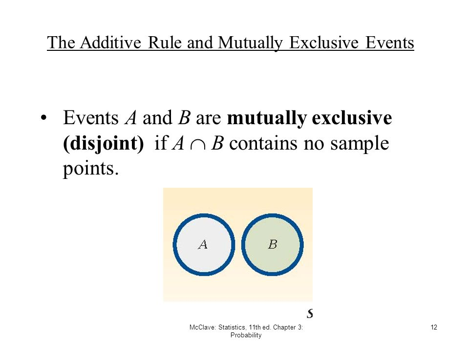 McClave: Statistics, 11th ed. Chapter 3: Probability 12 The Additive Rule and Mutually Exclusive Events Events A and B are mutually exclusive (disjoin
