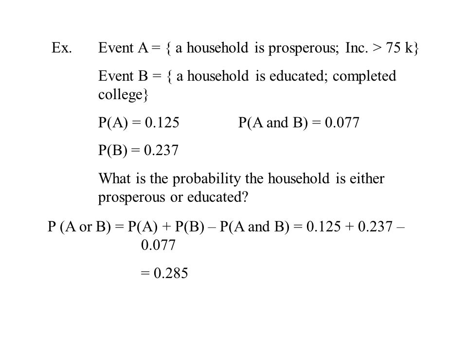 Ex. Event A = { a household is prosperous; Inc.