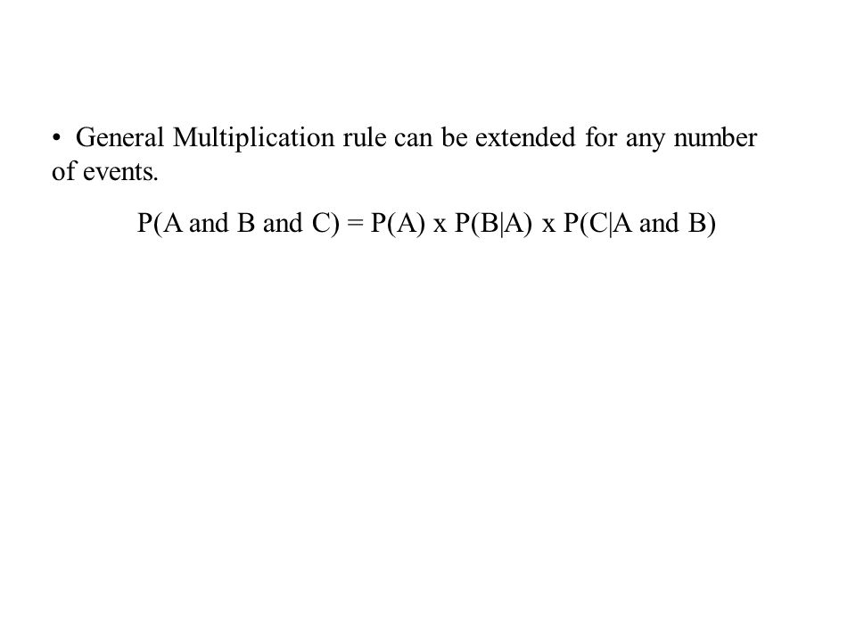 General Multiplication rule can be extended for any number of events.