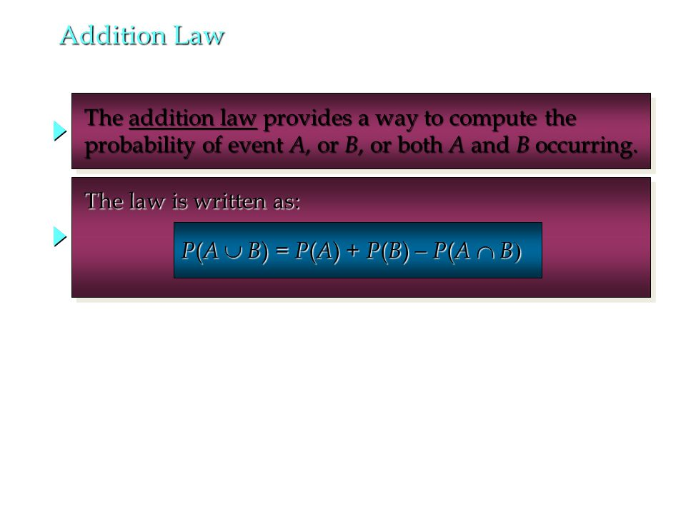 The addition law provides a way to compute the The addition law provides a way to compute the probability of event A, or B, or both A and B occurring.