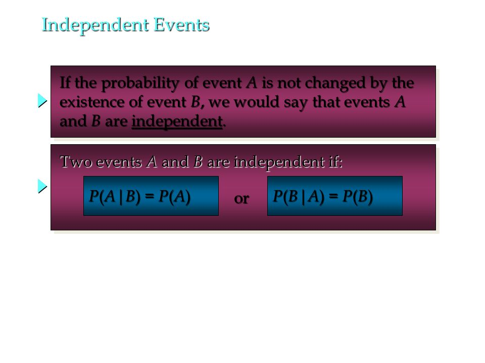 Independent Events If the probability of event A is not changed by the If the probability of event A is not changed by the existence of event B, we would say that events A existence of event B, we would say that events A and B are independent.