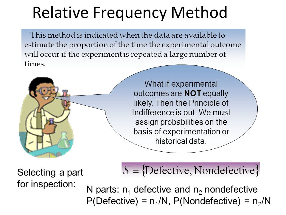 Relative Frequency Method This method is indicated when the data are available to estimate the proportion of the time the experimental outcome will occur if the experiment is repeated a large number of times.